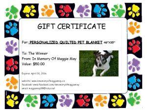 Gift Certificate Winner